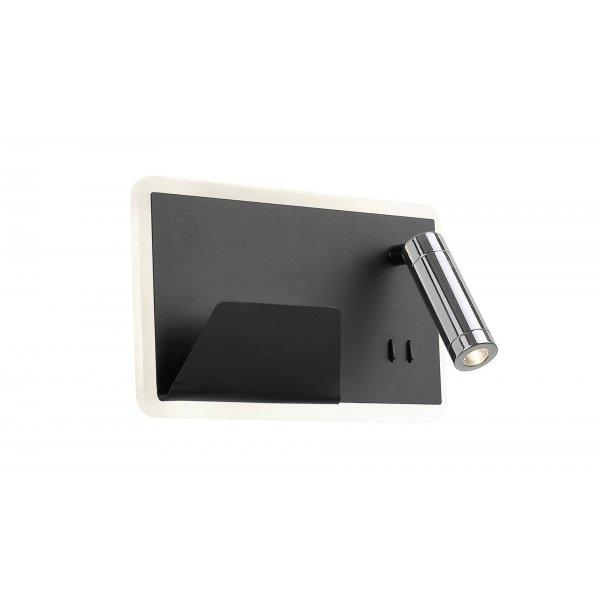 Aplică interior LED BOARD R negru mat & crom & alb - Unique by Klausen