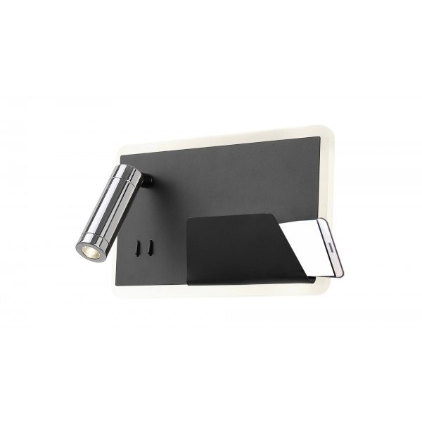 Aplică interior LED BOARD L negru mat & crom & alb - Unique by Klausen